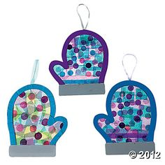 Tissue Paper Mitten Craft Kit - Cut out mittens of foam, with a stripe on bottom, add jewels. Can be an ornament.