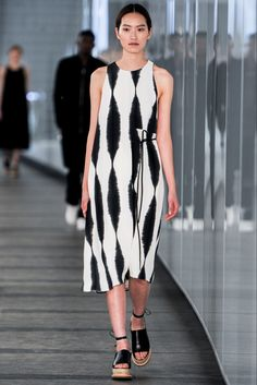 Spring 2015 Ready-to-Wear - Whistles --  Blurry vertical oscillation black white printed sleeveless dress with asymmetric closing.