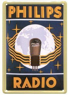 Philips Radio Blauw 20x30 | Blikken borden 20x30 | www.19toen.nl