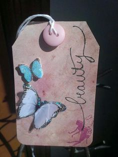 """Beauty"" butterfly gift tag"