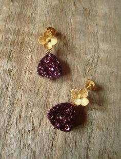 Plum Druzy Earrings Drusy Quartz 24K Gold by julianneblumlo, $80.00