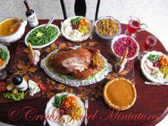 Thanksgiving & Christmas turkey dinner by IGMA Artisan Robin Brady-Boxwell  Fall & autumn dollhouse miniature food
