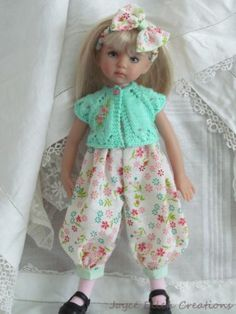 "13"" Effner Little Darling BJD Pink Mint Rompers Set OOAK Handmade Set by JEC 