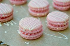 Strawberry and white chocolate macarons...