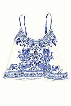 Blouse: shirt, blue, white, tank top, spagetti straps, china ...