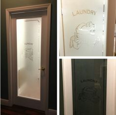 Laundry room frosted door from Lowe's. Laundry Doors, Basement Laundry, Laundry Room Colors, Laundry Room Design, Utility Room Designs, Laundry Business, Glass Pantry Door, Laundry Room Organization, Room Doors