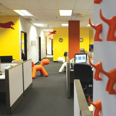 The colorful interior of the Petplan headquarters in Philadelphia offers employees - and the pets that they bring to work - plenty to bark about!
