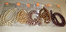 BF-299; Five Different Colored Strands of Shiny Pearls Each is a 15 Inch Strand of 8mm Beads in Cream to Dark Brown Color Of The Day, Upcycled Crafts, Medium Brown, Craft Items, Strands, Different, Pearl White, Dark Brown, Off White