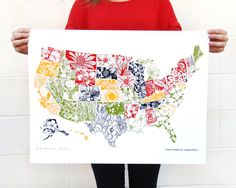 Illustrated United States Map, by Thimblepress #floral #map #usa
