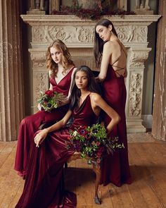 Jenny Yoo Collection Bridal and Bridesmaid Dresses 2018 Velvet Bridesmaid Dresses, Brides And Bridesmaids, Wedding Dresses, Bride Dresses, Satin Dresses, Formal Dresses, Fall Wedding Colors, Red Wedding, Wedding Blog