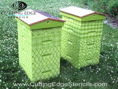 How cute are these beehives, #stenciled with the #Zagora craft stencil from #CuttingEdgeStencils? Loving how these two shades of green work together, too! http://blog.cuttingedgestencils.com/stenciled-beehives-craft-stencils.html
