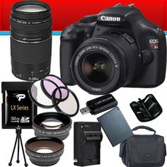 Canon EOS Rebel T3 12.2 MP CMOS Digital SLR with 18-55mm IS II Lens (Black) + Canon EF 75-300mm f/4-5.6 III Telephoto Zoom Lens + 58mm 2x Telephoto lens + 58mm Wide Angle Lens (4 Lens Kit!!!) W/32GB SDHC Memory + Extra LPE10 Battery/Charger + 3 Piece Filter Kit + Full Size Tripod + Accessory Kit by Canon. $599.99. Kit Includes! 1- Canon EOS Rebel T3 12.2 MP CMOS Digital SLR with 18-55mm IS II Lens USA w/All Supplied Accessories 1- Canon EF 75-300mm f/4-5.6 III T...