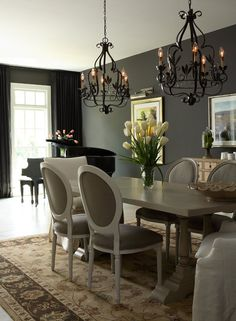 Loving the color and the chandeliers