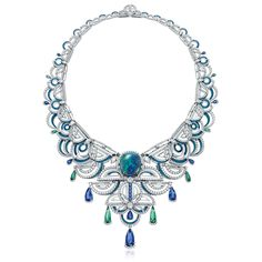 Chow Tai Fook Frank Stella-inspired La Lumiere de L'Infini necklace set with a black opal, diamonds, sapphires and tourmalines. Opal Jewelry, High Jewelry, Modern Jewelry, Jewelry Art, Jewelry Accessories, Fashion Jewelry, Bohemian Jewelry, Jewelry Necklaces, Women's Fashion