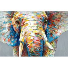 Oil painting of an elephant. Image Elephant, Elephant Canvas, Colorful Elephant, Surrealism Painting, Spring Painting, Brown Art, Arte Pop, Watercolor Animals, Abstract Canvas