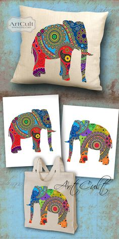 PAISLEY ELEPHANTS - 2 Digital Sheets Printable Images to print on fabric / paper, Iron On Transfer for totes t-shirts pillows home decor