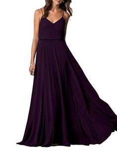 Lafee Bridal V-Neck Spaghetti Straps Long Chiffon Beach Wedding Bridesmaid Dress Grape Size 10