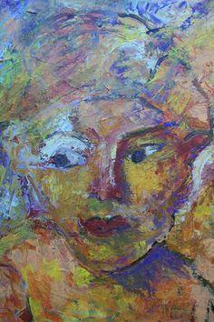 """acryl schildering 80x100, """"Met scheve ogen kijken"""" van Marian Filarski"""
