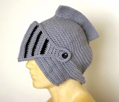 Handmade crochet knight hat, beanie, helmat, armor with removable face guard - fits adult male by Knitnutbyjl, http://www.amazon.com/dp/B00CGKE6Y8/ref=cm_sw_r_pi_dp_K2CDrb1G7VRH5