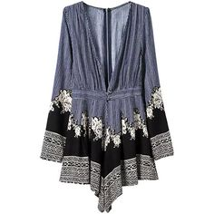 Yoins Deep V Neck Long Sleeve Playsuit ($27) ❤ liked on Polyvore featuring jumpsuits, rompers, romper, playsuit, dresses, tops, blue, jump suit, long sleeve jumpsuit and floral romper
