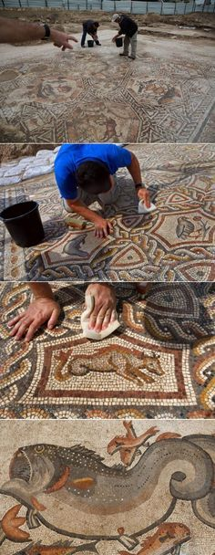 A massive, well-preserved 1,700 year-old Roman mosaic was recently unearthed while performing city sewer construction. (Source in comment)
