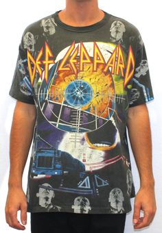 90s Def Leppard All Over Print Tee XL (VERY RARE)