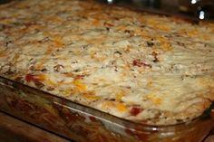 Baked Spaghetti by Trisha Yearwood - the best I've ever tasted!!!!  This is a crowd pleaser!!!