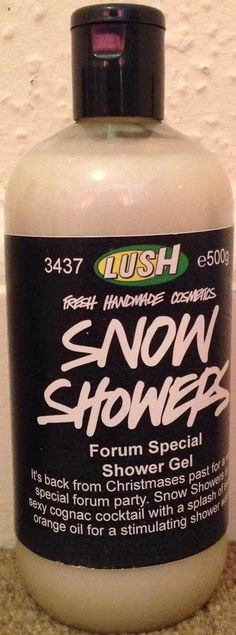 "Snow Showers Shower Gel: ""It's back from Christmas past for a very special forum party. Snow Showers is a sexy cognac cocktail with a splash of sweet orange oil for a stimulating shower was"""