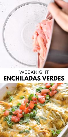These Weeknight Enchiladas Verdes are made with chicken and covered in an easy salsa verde. Baked to perfection, they make a great dinner and tasty leftovers that everyone will be excited to eat! Clean Dinner Recipes, Clean Dinners, Mexican Dinner Recipes, Clean Eating Dinner, Mexican Desserts, Enchiladas Mexicanas, Enchiladas Verdes Recipe, Chicken Enchiladas Verde, Pasta Primavera