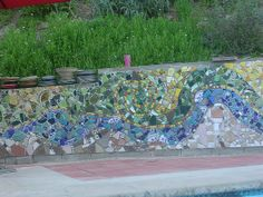 mosaic cinder block wall by jillfleischmann Mosaic Bathroom, Mosaic Wall Art, Mosaic Glass, Glass Art, Mosaic Mirrors, Sea Glass, Mosaic Designs, Mosaic Patterns, Mosaic Walkway