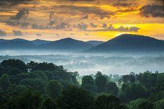 Asheville, North Carolina mountain sunset.