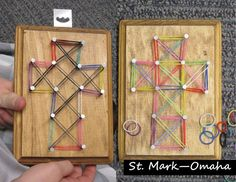 Sunday school craft – 'string art' crosses for Holy Week, but instead of using string, we used the little colored rubber bands from rainbow loom to make our designs. Older kids can experience pounding their own nails while talking about the events of Good Friday.