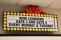 """marquee for what your are learning. Maybe what is """"coming soon""""  this site has ideas for a classroom 'city' theme"""