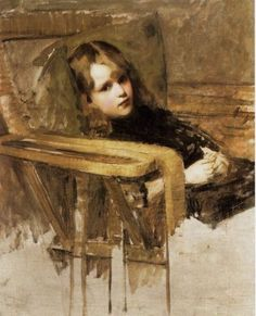 """One of my favorite John William Waterhouse paintings, called """"The Easy Chair"""" by some. Undated."""