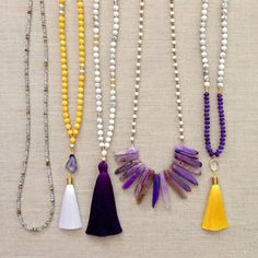 Purple and Gold Gameday Necklaces by LovesAffect on Etsy