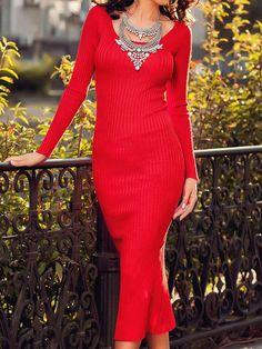 Red Long Sleeve Back Split Knitted Bodycon Dress