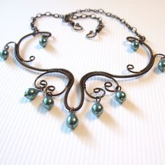 Victorian Scroll Necklace  Wire Wrapped Necklace  by TheWireRose, $35.00