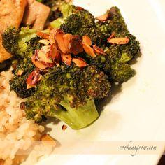 Lemon Garlic Roasted Broccoli cookeatgrow.com #broccoli #vegetarian #vegan