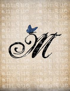 Antique Letter M Script Monogram with Butterfly Digital Download for Dictionary Pages, Papercrafts, Transfer, Pillows, etc.Burlap No 7461