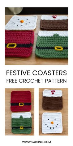 Free Pattern - Crochet Christmas Coasters - knitting is as easy as 3 . - Free Pattern – Crochet Christmas Coasters – Knitting is as easy as 3 Knitting boils down - Easy Knitting Projects, Diy Craft Projects, Crochet Projects, Sewing Projects, Crochet Ideas, Sewing Crafts, Crochet Pattern Free, Holiday Crochet Patterns, Knitting Patterns