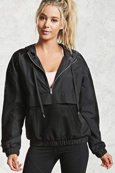 Look and feel your best in Forever 21 activewear and workout clothes for women! Get fit in our sports bras, leggings, shorts, crop tops & more. Athleisure Outfits, Sporty Outfits, Mesh Jacket, Anorak Jacket, Hooded Jacket, Girl Fashion, Fashion Outfits, Active Wear For Women, Dance Outfits