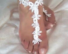 Barefoot Wedding Sandals for Beach Weddings - Wedding Tips 101 Barefoot Sandals Wedding, Beach Wedding Shoes, Bridal Sandals, Diy Lace Sandals, Beach Sandals, Boho Wedding, Wedding Ideas, Rose Lace, Bride Shoes