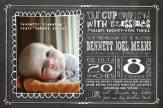 Birth Announcement, Chalkboard Style with Scripture Printable. $15.00, via Etsy.