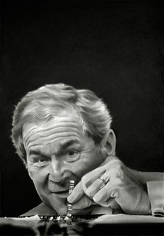 Mission Accomplished, 2015, portrait of George Bush using charcoal and graphite on paper, 56.5 x 40.