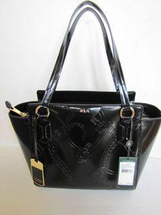 2dc1a01b73 Genuine Ralph Lauren WINFORD Modern SHOPPER Hand Bag Black Patent Leather  for sale online