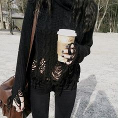 Shredded knit black sweater top. All black outfit. Gothic winter.