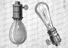 Vintage Edison Lamp Light Bulb Illustration  by UpstairsCats
