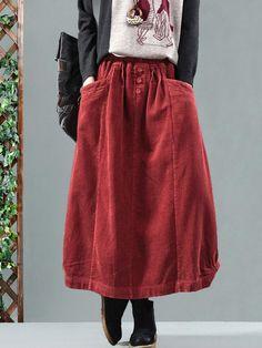 Sheinstreet Spring and Summer Vintage Corduroy Solid Skirt BLACK Boho Dress, Dress Skirt, Tunic Dresses, Lace Skirt, Midi Skirt, Shirt Dress, Winter Skirt, Corduroy Skirt, Casual Skirts