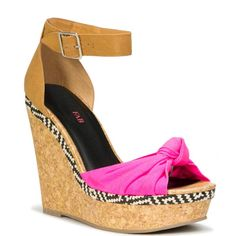 JustFab - Medellin  Price: $55  Lend a touch of tribal-cool to your look with this ultra-chic 4 1/2 inch wedge sandal with a 1 1/2 inch platform and an adjustable ankle strap.