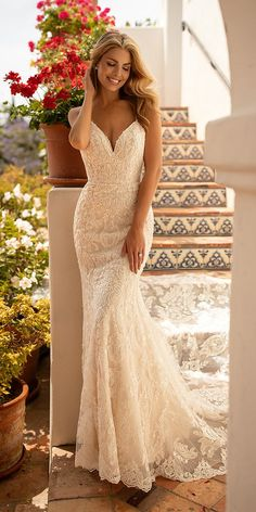 Wedding Dresses Lace Buttons Moonlight Wedding Dresses: Fairytale Bridal Collection 2020 moonlight wedding dresses mermaid with straps lace beaded detail beach robe dresses dresses beach dresses boho dresses lace dresses princess dresses vintage Country Wedding Dresses, Wedding Dress Trends, Sexy Wedding Dresses, Princess Wedding Dresses, Bridal Dresses, Lace Wedding, Gown Wedding, Wedding Bridesmaids, Beaded Wedding Dresses